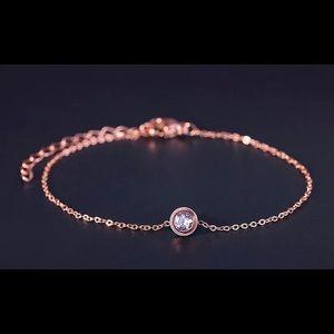 Rose gold color bracelet with Rhinestone